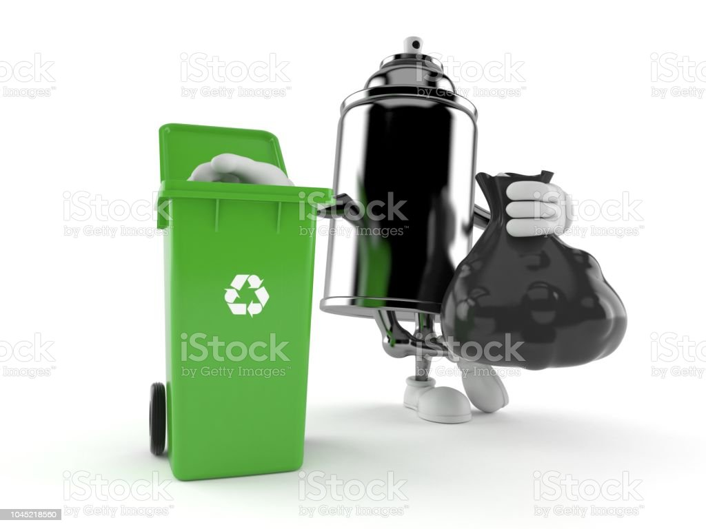 Spray Can Character With Dustbin Stock Photo - Download