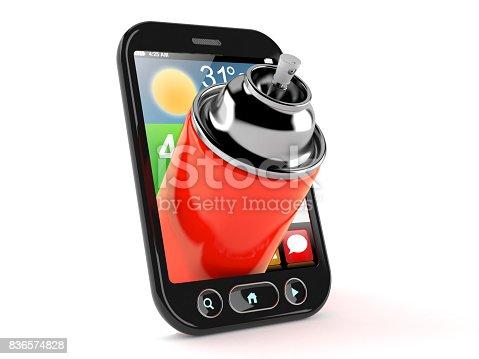istock Spray can inside smart phone 836574828