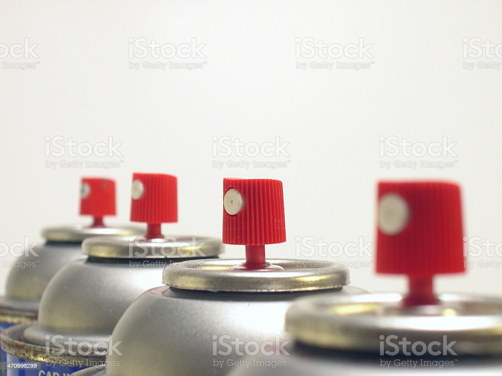 spray cans aligned royalty-free stock photo