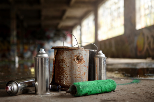 Spray Cans and Painting Graffiti Kit Left Over