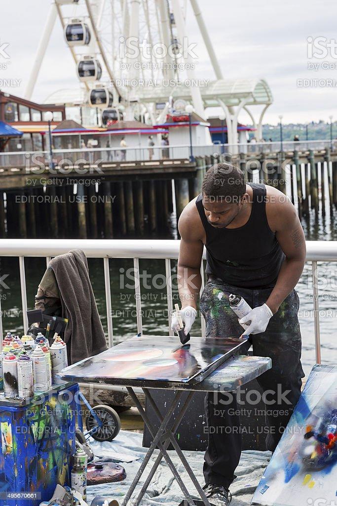 Spray Paint Artist in Seattle (Verticle) stock photo