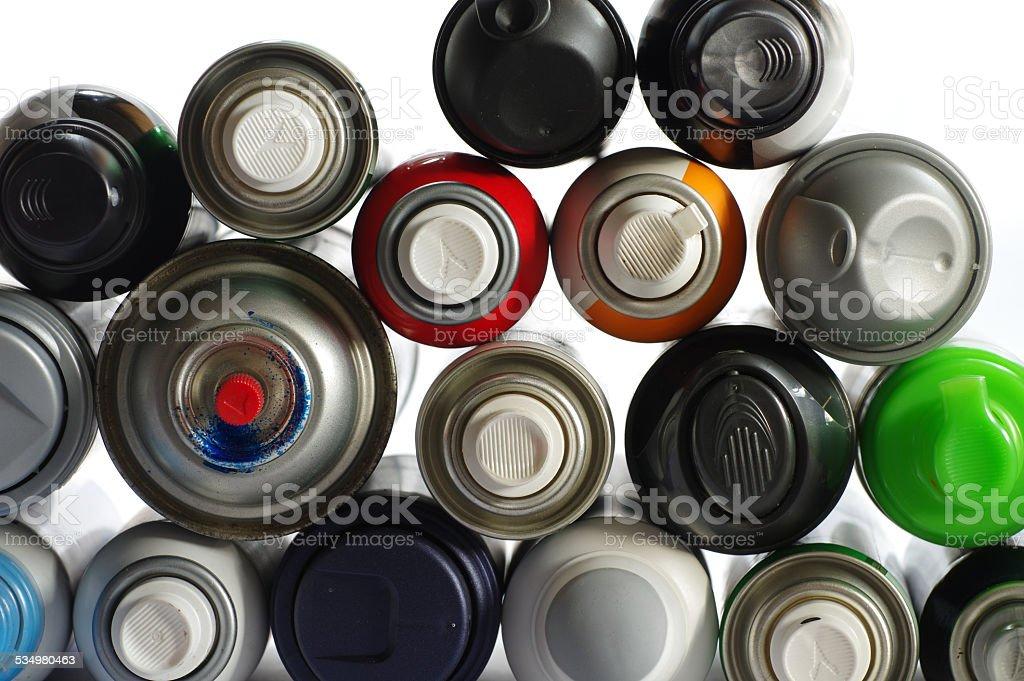spray paint can isolated objects stock photo