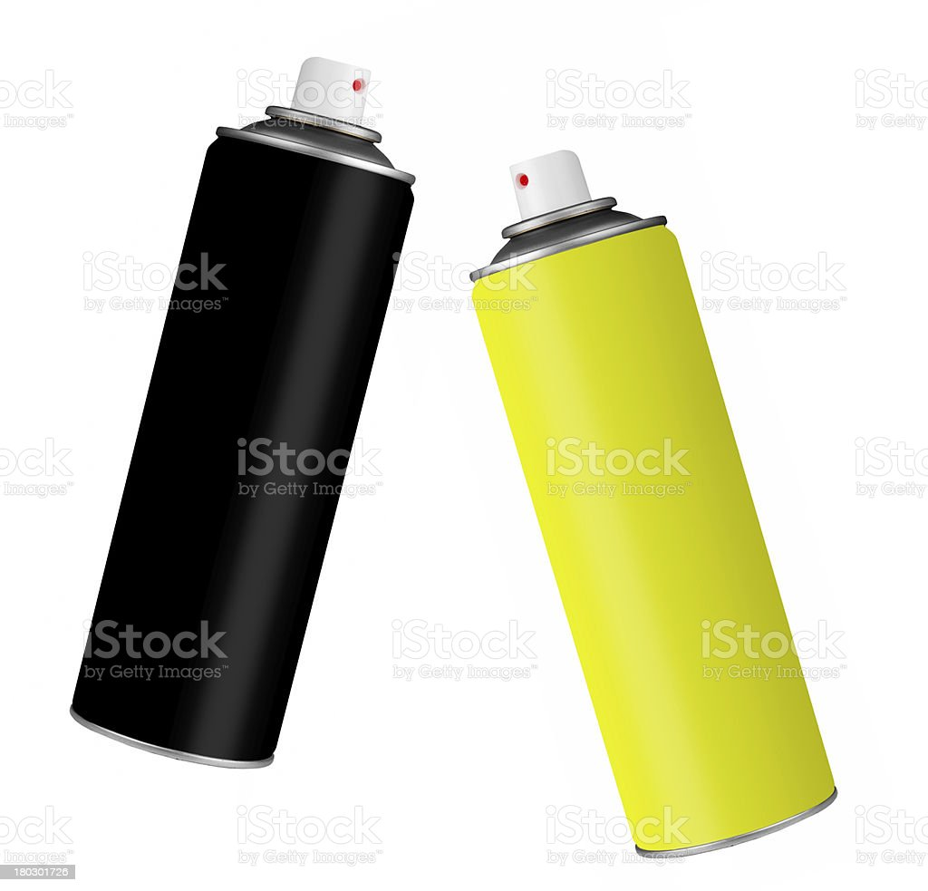 Spray paint cans - black and yellow, isolated over white stock photo