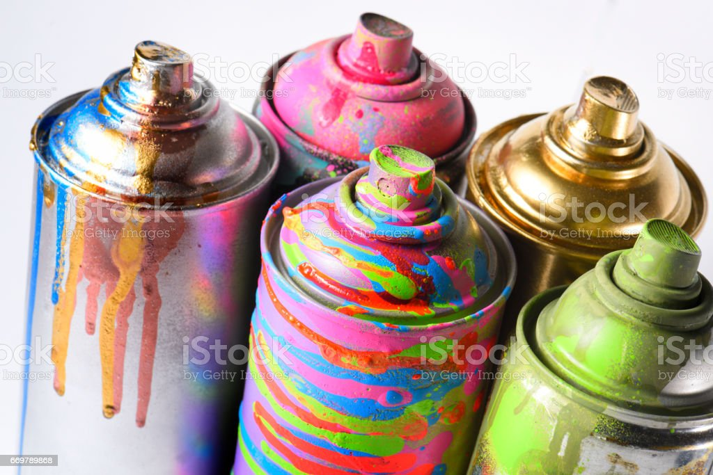 Spray paint in baloons, white background. – Foto