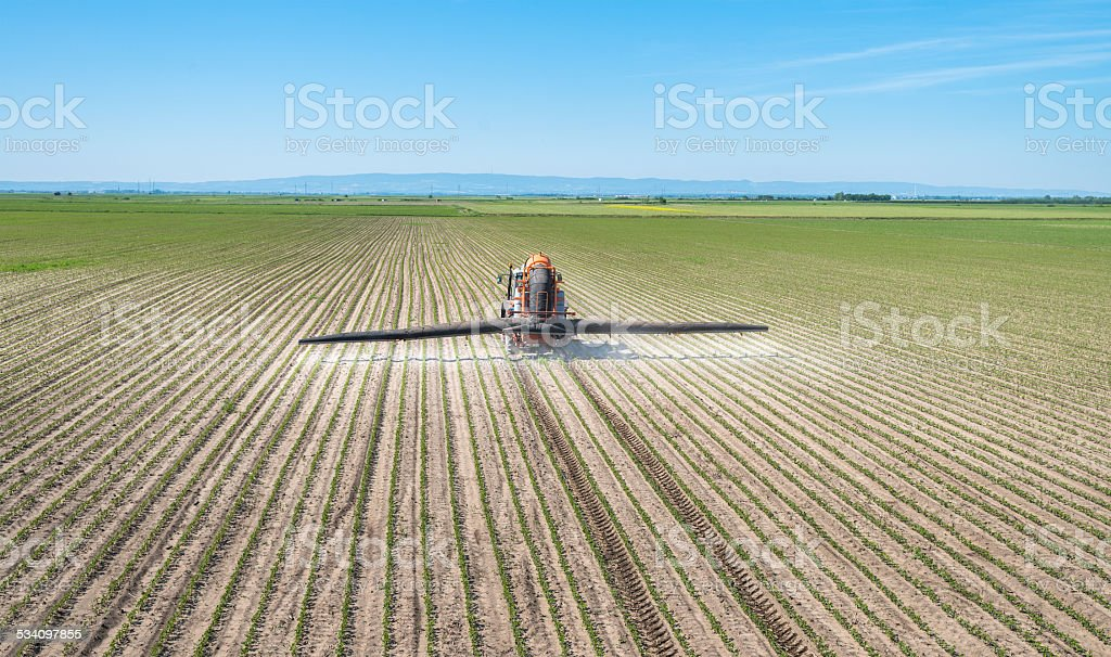 Spraying soya bean field stock photo
