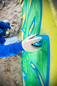 Spraypainting a Concrete Wall from Directly Above
