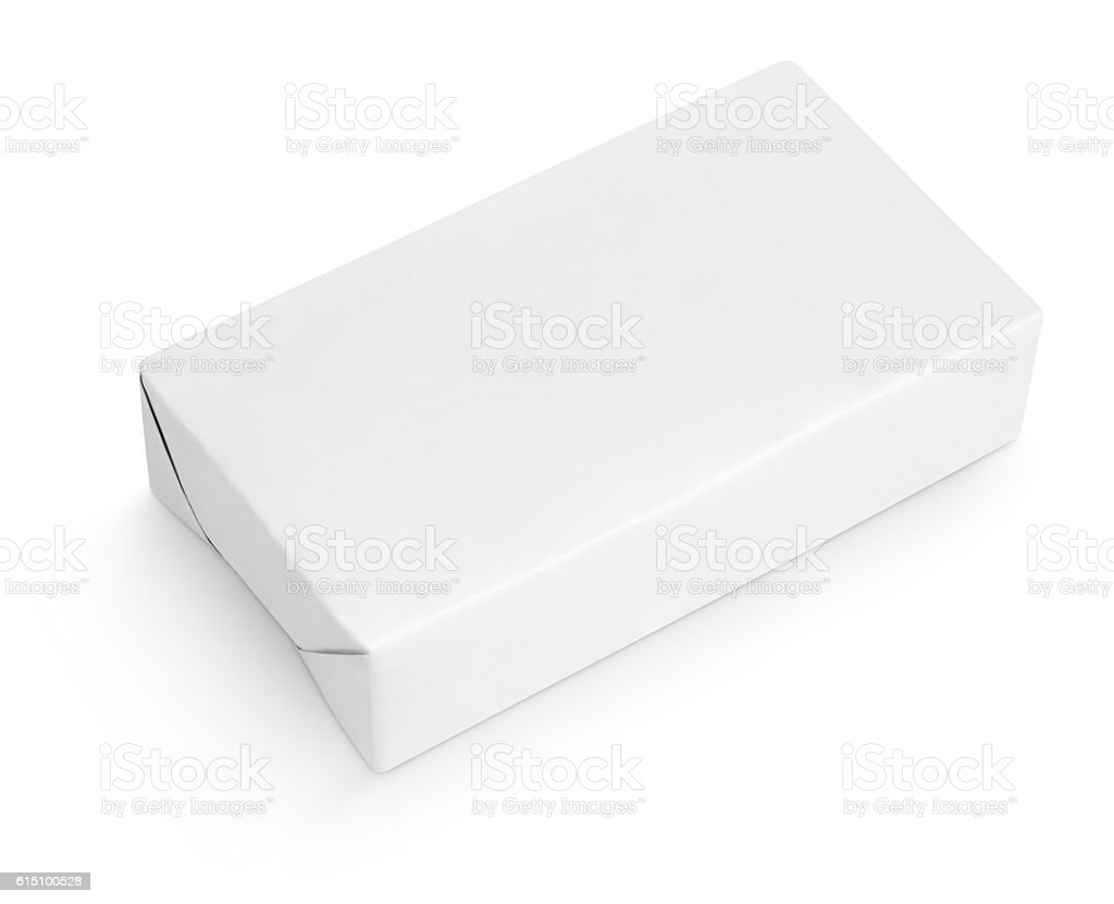 Spread butter wrap box package isolated on white stock photo