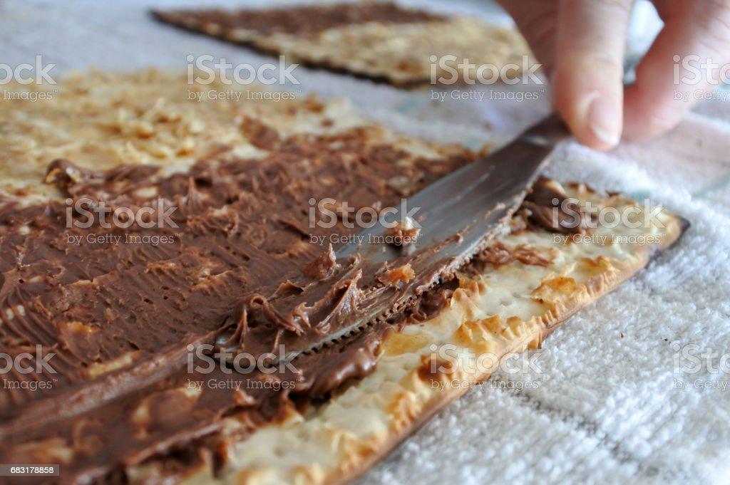 Spread knife full of chocolate 免版稅 stock photo