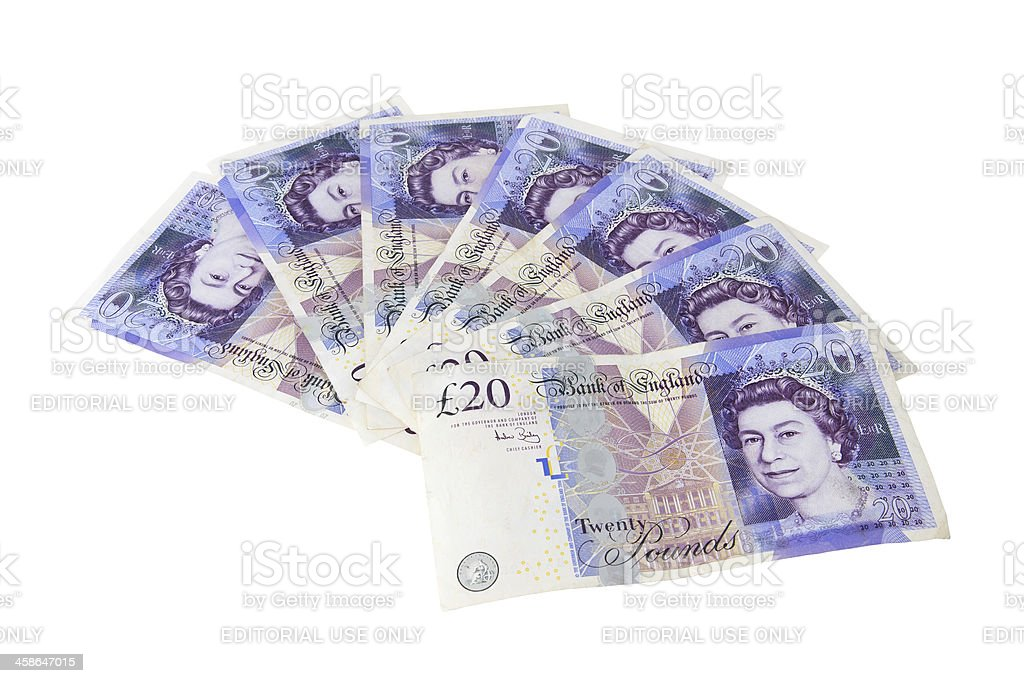 Spread of 20 pound sterling notes with Queen Elizabeth II stock photo