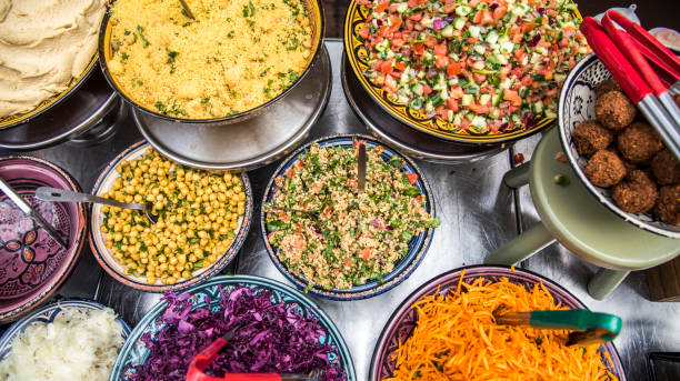 spread of food - algeria stock photos and pictures