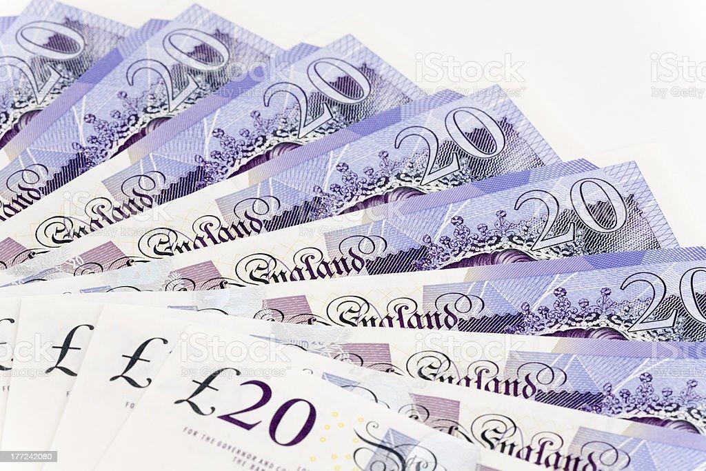 Spread Of UK Twenty Pound Notes stock photo