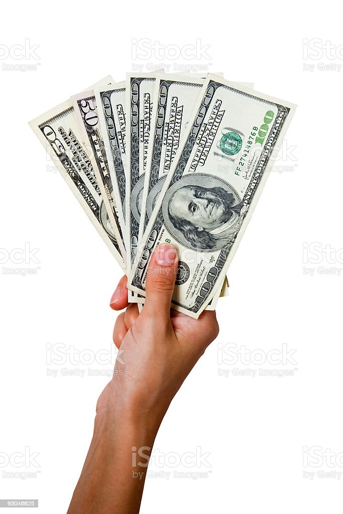 Spread of US Dollar notes with Benjamin Franklin stock photo
