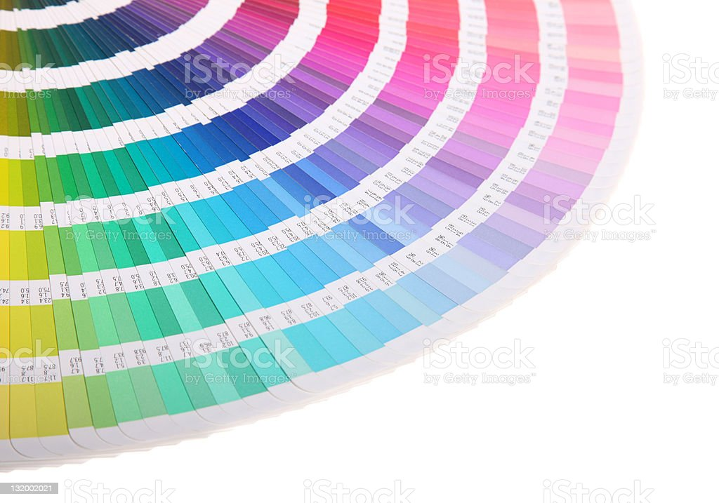 Spread out color guide on a white background royalty-free stock photo