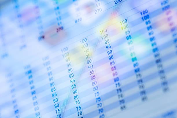feuille de calcul données afficher sur une tablette - palm photos et images de collection