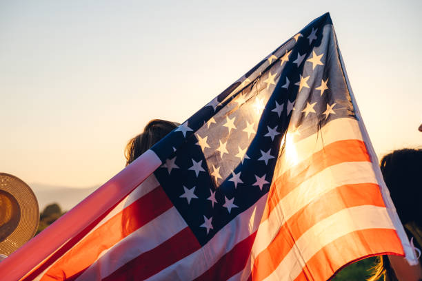 Spreading american flag stock photo