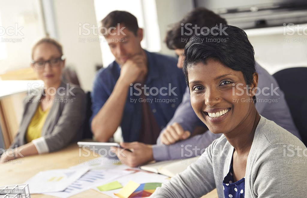 Spreading positivity in the office, that's me! stock photo