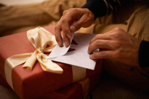 spreading the joy - gift voucher or card stock photos and pictures