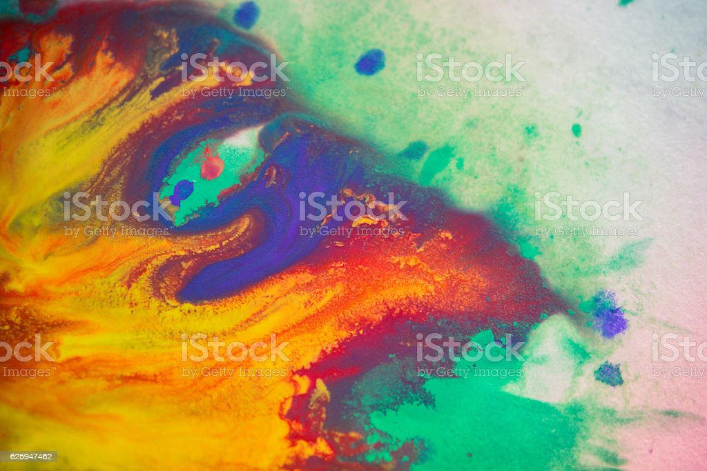 spreads colored ink colors on a white background stock photo