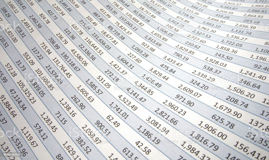 Spreadsheet flowing to left stock photo