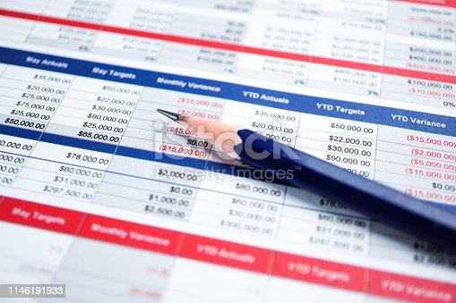 istock Spreadsheet table paper Finance development, Account, Statistics Investment Analytic research data 1146191933