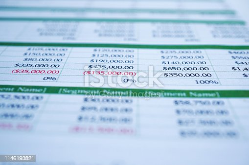 istock Spreadsheet table paper Finance development, Account, Statistics Investment Analytic research data 1146193821