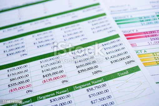istock Spreadsheet table paper Finance development, Account, Statistics Investment Analytic research data 1146193866