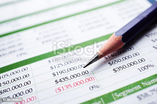 istock Spreadsheet table paper Finance development, Account, Statistics Investment Analytic research data 1146194803