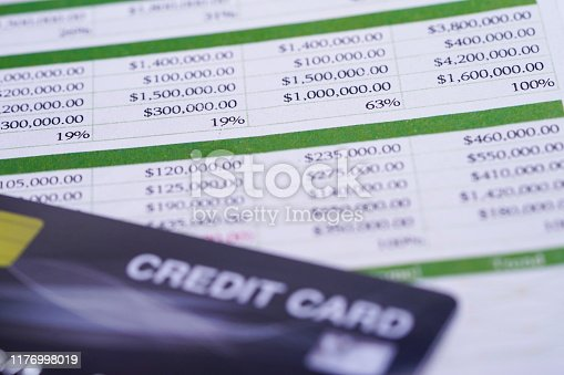 640947656istockphoto Spreadsheet table paper with crediit card. Finance development, Banking Account, Statistics Investment Analytic research data economy, trading, Mobile office reporting Business company meeting concept. 1176998019
