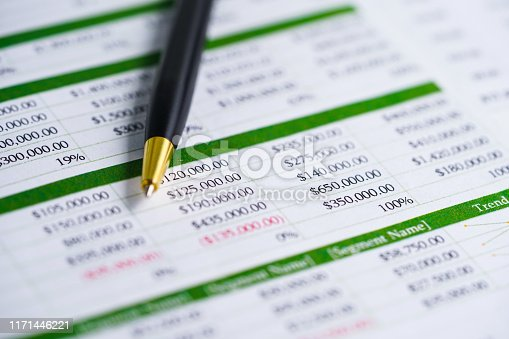 640947656istockphoto Spreadsheet table paper with pen. Finance development, Banking Account, Statistics Investment Analytic research data economy, trading, Mobile office reporting Business company meeting concept. 1171446221