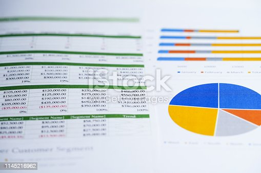 istock Spreadsheet table paper with pencil. Finance development, Banking Account, Statistics Investment Analytic research data economy, trading, Mobile office reporting Business company meeting concept. 1145216962