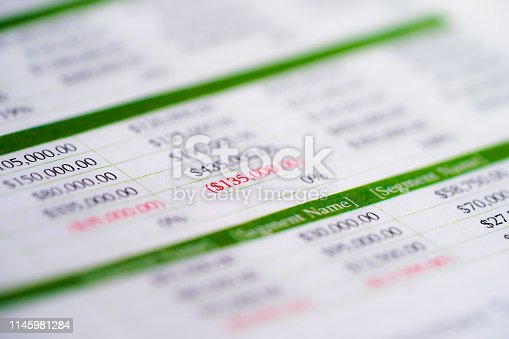 istock Spreadsheet table paper with pencil. Finance development, Banking Account, Statistics Investment Analytic research data economy, trading, Mobile office reporting Business company meeting concept. 1145981284