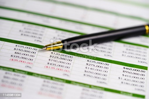 istock Spreadsheet table paper with pencil. Finance development, Banking Account, Statistics Investment Analytic research data economy, trading, Mobile office reporting Business company meeting concept. 1145981334
