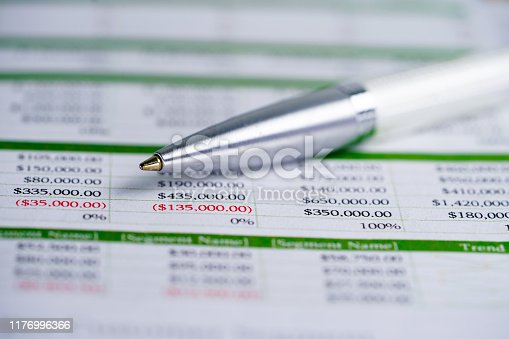 640947656istockphoto Spreadsheet table paper with pencil. Finance development, Banking Account, Statistics Investment Analytic research data economy, trading, Mobile office reporting Business company meeting concept. 1176996366