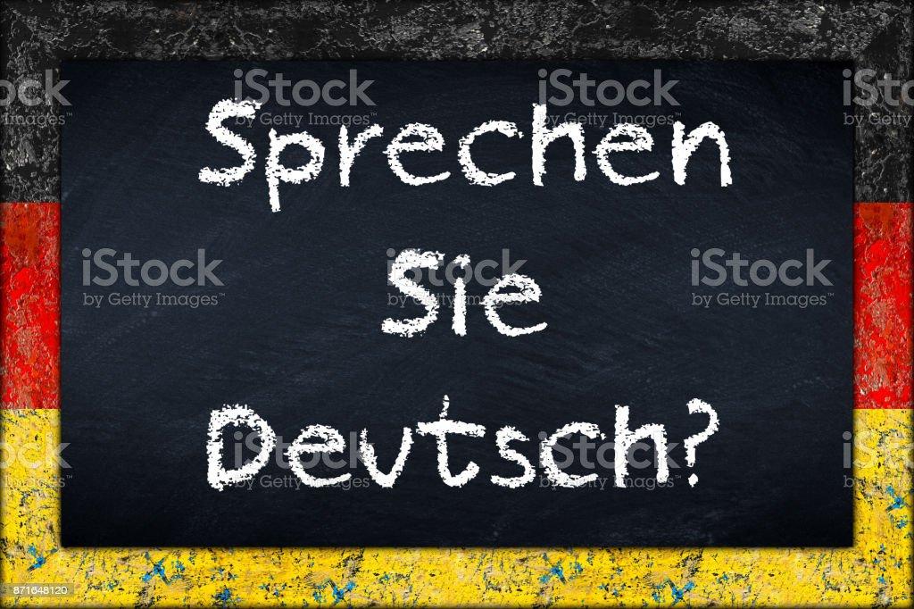 Gerade Sie Deutsch Tafel Mit Deutschland Flagge Rahmen Stock ...