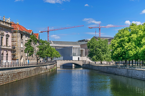 Spree canal and Museum Island with the James Simon Galerie in Berlin, Germany