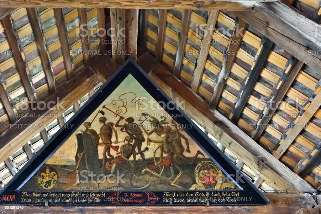 Spreuer Bridge ancient painting Dance of Death, Lucerne, Switzerland royalty-free stock photo