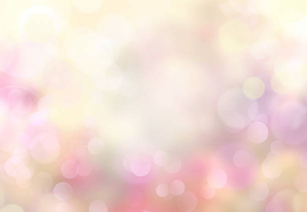 Spring abstract blurred bokeh light yellow background. - foto stock
