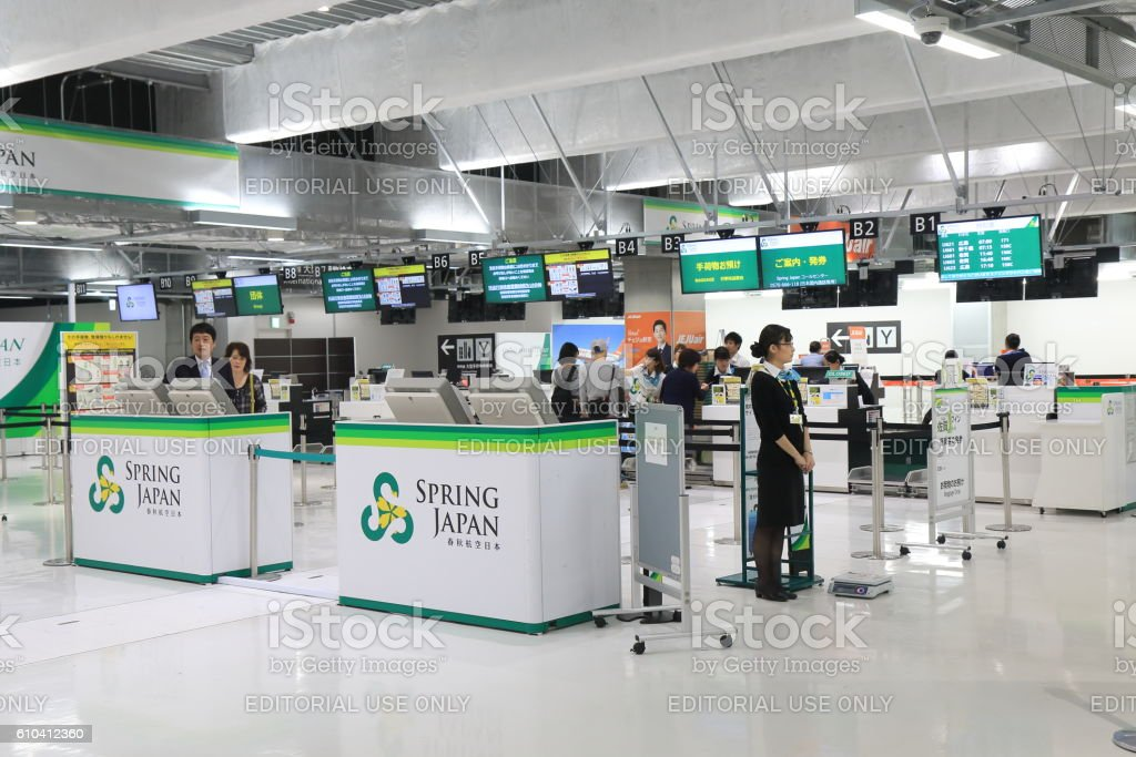 Spring Airline check in counter Narita Airport Japan stock photo