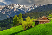 Stunning rural farm with old wooden hut Bran,Transylvania,Romania,Europe