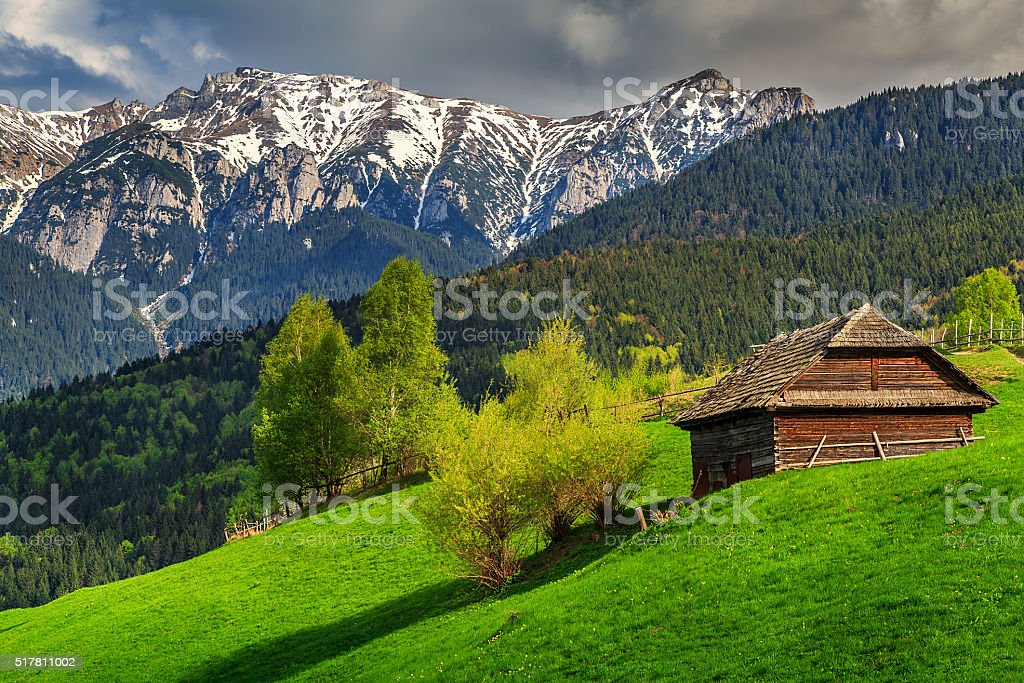 Spring alpine landscape near Bran,Transylvania,Romania,Europe stock photo