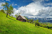 Amazing rural farm with old wooden hut Bran, Transylvania, Romania ,Europe