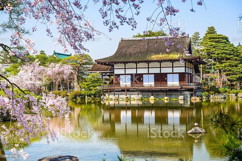 Spring at Heian Shrine in Kyoto stock photo
