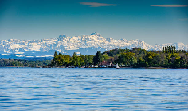 Spring at lake constance mountain saentis over the lake constance Bodensee stock pictures, royalty-free photos & images