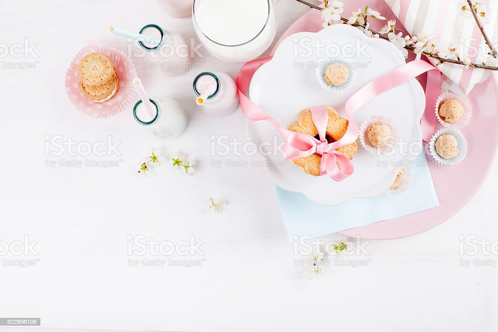 Spring Baby Shower in pink stock photo