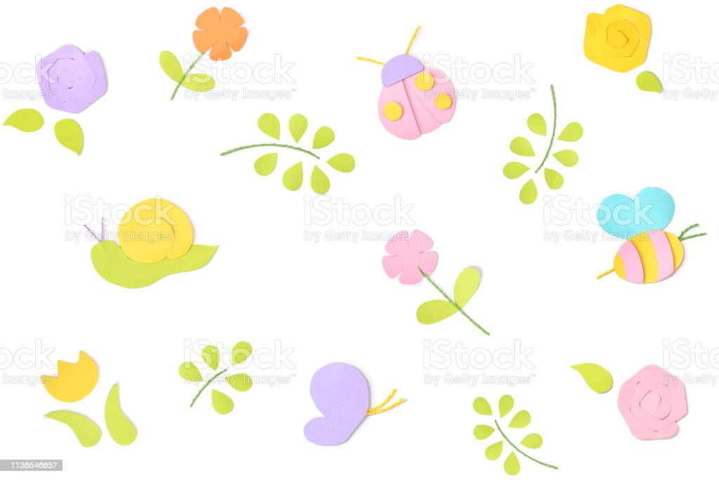 Spring background paper cut on white background stock photo