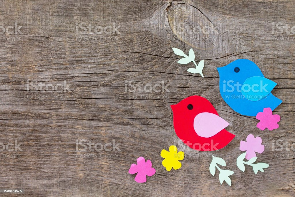 Two Birds And Spring Flowers On A Wooden Background Craft For Kids