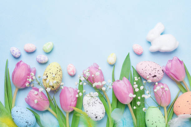 Spring background with flowers, bunny, colorful eggs and feathers on blue table top view. Happy Easter card. stock photo