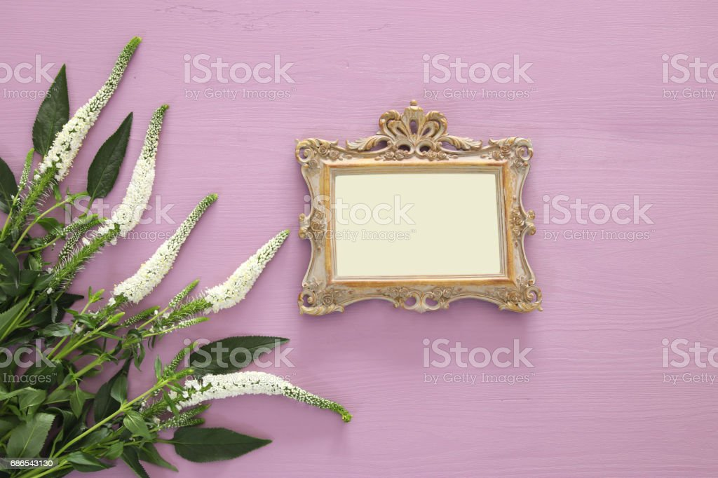spring beautiful white flowers and blank victorian photo frame foto stock royalty-free