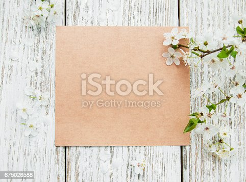 istock Spring   blossom and card 675026588