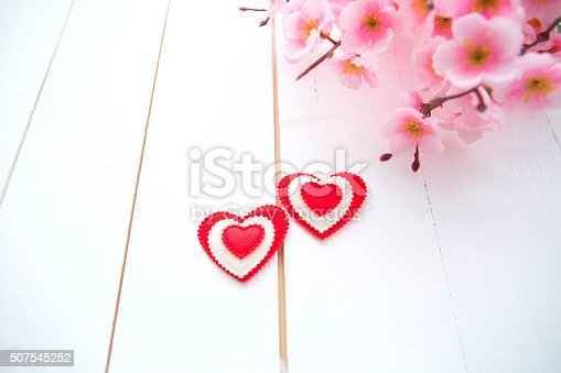 istock Spring Blossom and heart over wooden background 507545252